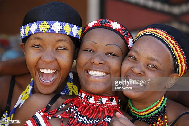 three young zulu women of south africa - south african culture stock photos and pictures