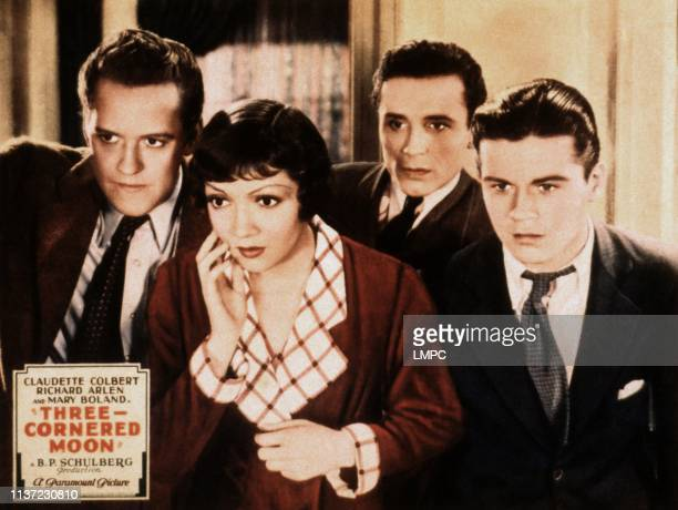Threecornered Moon lobbycard Hardie Albright Claudette Colbert William Bakewell Tom Brown 1933