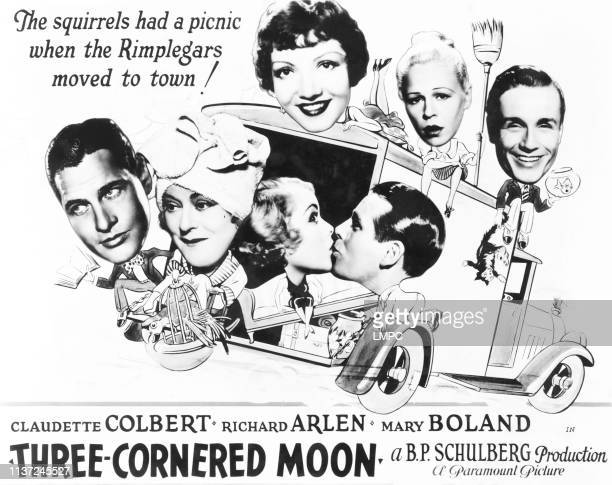 Threecornered Moon US lobbycard front from left Richard Arlen Mary Boland Joan Marsh Wallace Ford rear from left Claudette Colbert Lyda Roberti...