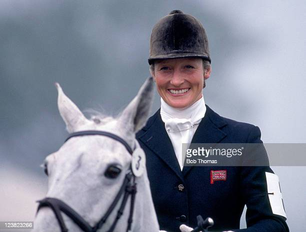 Threeday event rider Lucinda Green of Great Britain during the Badminton Horse Trials circa May 1988
