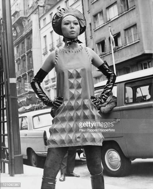 A threedimensional dress in the new 'Cardine' fabric by Pierre Cardin on display in Paris 26th July 1968 The fabric can be preshaped or sewn to...
