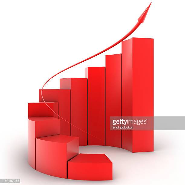 three-dimensional red bar graph spiral staircase - bar graph stock pictures, royalty-free photos & images