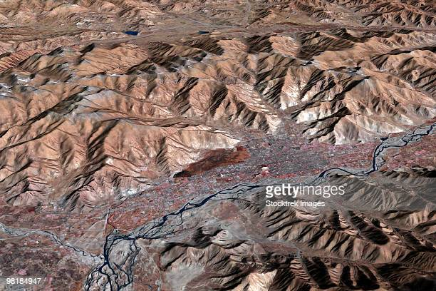 Three-dimensional view of the landscape of Lhasa, Tibet.