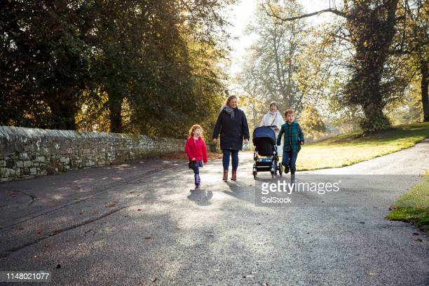 three-gen family at a park - redhead stock pictures, royalty-free photos & images