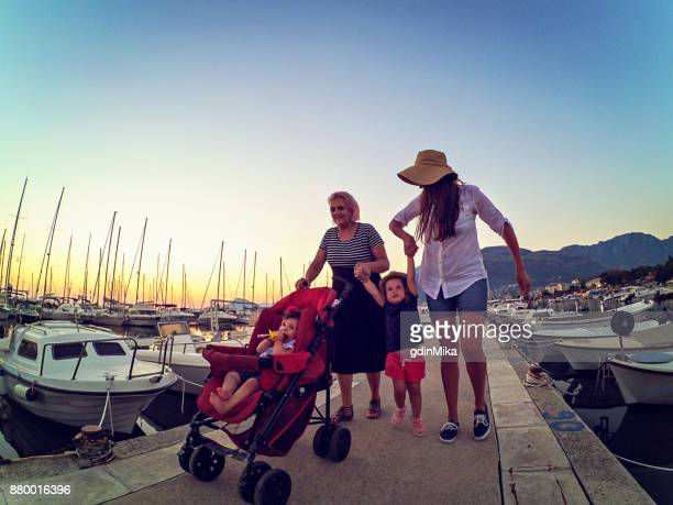 Three-generation family enjoying vacation