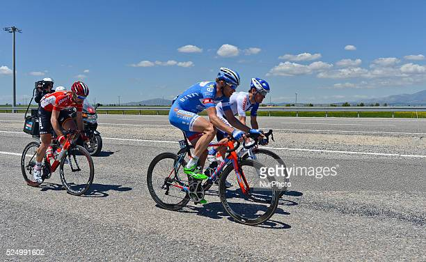 Threeman breakaway with Thomas De Gendt Frederik Veuchelen and Alessandro Bazzana during the fifth stage the 160km MuglaPamukkale at the 51st...