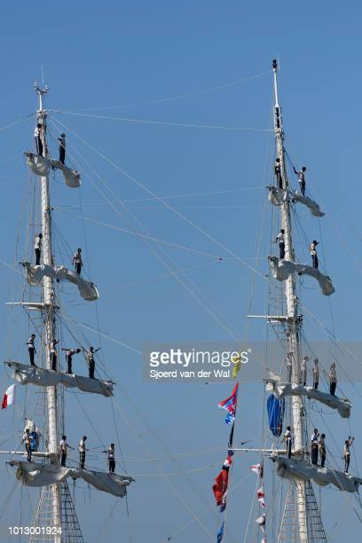 Threemasted barque INS Tarangini from India entering the port of Harlingen during the finish of the 2018 Tall Ship Race on August 3 2018 in Harlingen...