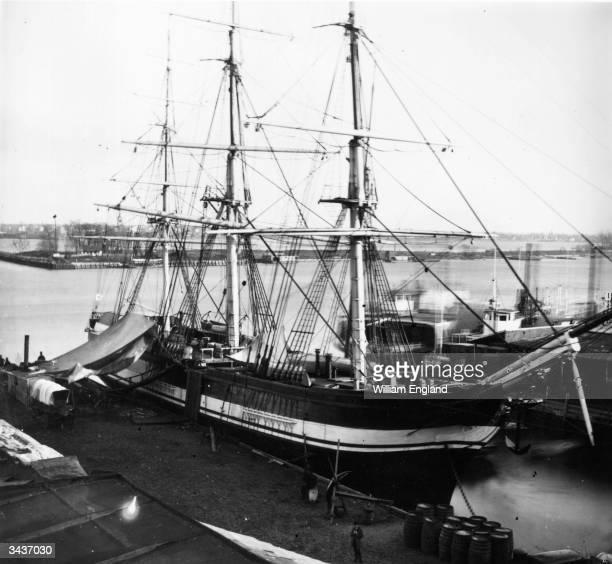 A threemasted sailing ship moored on the Delaware River at Philadelphia Pennsylvania