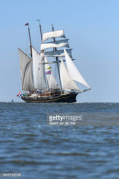 Threemasted topsail schooner Gulden Leeuw entering the port of Harlingen during the finish of the 2018 Tall Ship Race on August 3 2018 in Harlingen...