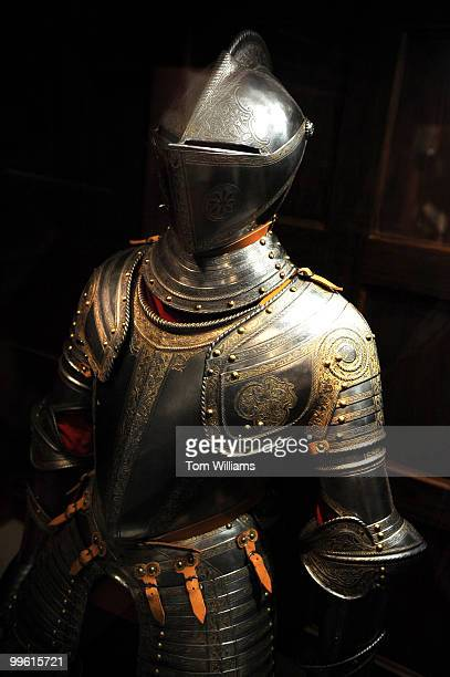 Threequarter field armor possibly for Henry Herbert second Earl of Pembroke Northern Italy is on display at the Library for the 'Now Thrive Armorers...
