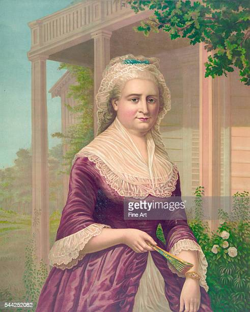 Threequarter length portrait of first lady Martha Washington by G F Gilman chromolithograph