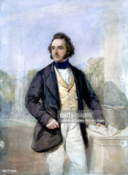 Three-quarter length watercolour portrait of Sir Joseph Paxton standing beside a desk with an architectural drawing in his left hand. Paxton began...