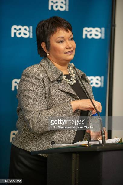 Threequarter profile shot of Lisa Jackson a chemical engineer and former Environmental Protection Agency administrator participating in a Foreign...