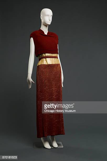 Threequarters view of an evening gown by Elsa Schiaparelli 1937 Worn by donor Marie Ingersol born September 3 1908 Purchased in Paris 1939