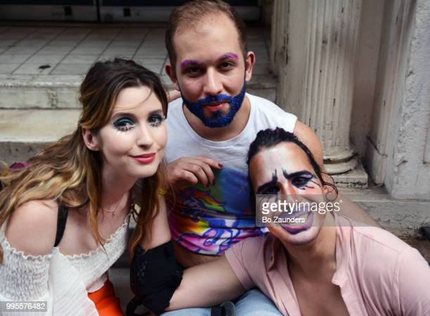 Threesome at the annual Gay Pride Parade in New York City.