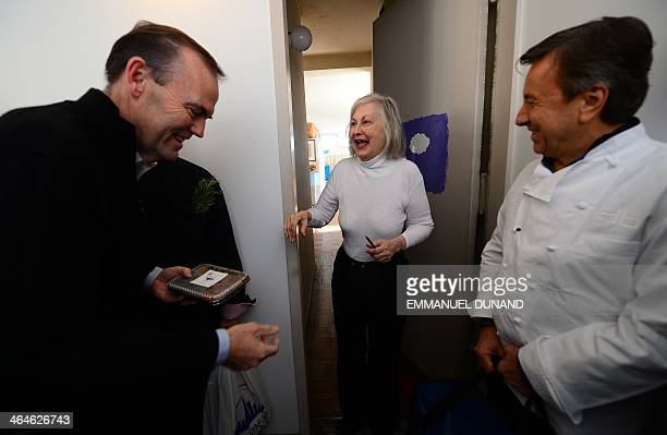 Threestar Michelin guide chef Daniel Boulud and US chef Charlie Palmer deliver a meal cooked at one of their restaurant to Adrienne as part of...