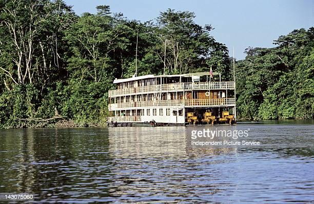Threestory houseboat on the Aguarico River Ecuador