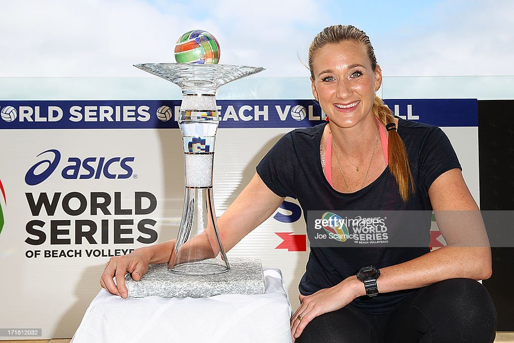 Three-time gold medalist Kerri Walsh Jennings gets first glimpse of World Series Cup, where she represents the US against the World at the ASICS World Series of Beach Volleyball on June 25, 2013 in Manhattan Beach, California