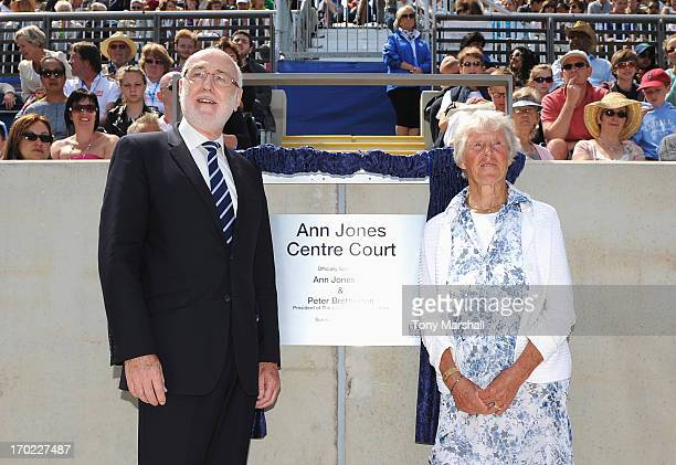 Threetime Grand Slam Champion Ann Jones poses with Peter Bretherton President of the LTA during the Grand Opening of Centre Court after it was named...