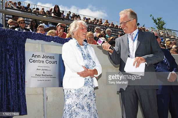 Threetime Grand Slam Champion Ann Jones talks to Mark Curry during the Grand Opening of Centre Court after it was named in her honour during day one...