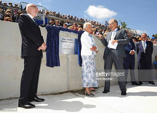 Threetime Grand Slam Champion Ann Jones talks to Mark Curry during the Grand Opening of Centre Court after it was named in her honour with Peter...