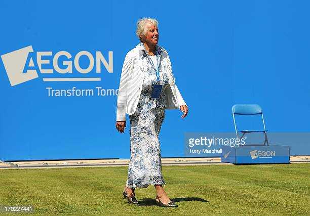 Threetime Grand Slam Champion Ann Jones walks out during the Grand Opening of Centre Court during day one of the AEGON Classic tennis tournament at...