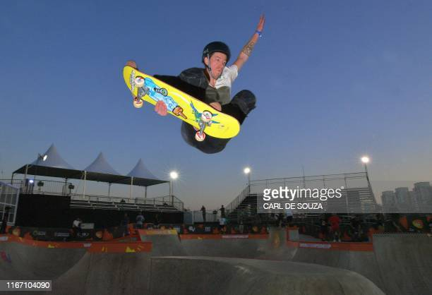 TOPSHOT US' threetime Olympic gold medalist freestyle snowboarder Shaun White during a practice session at the World Park Skateboarding Championship...