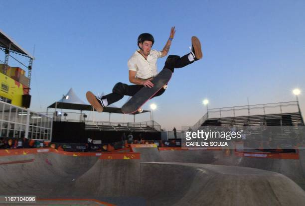 US' threetime Olympic gold medalist freestyle snowboarder Shaun White during a practice session at the World Park Skateboarding Championship in Sao...