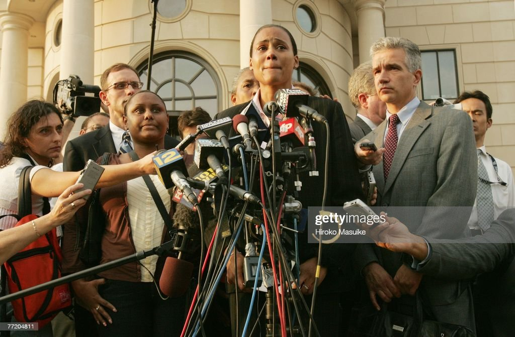 Three-time Olympic gold medalist Marion Jones speaks to the media outside a United States federal courthouse October 5, 2007 in White Plains, NY. Jones pleaded guilty to charges in connection with steroid use.