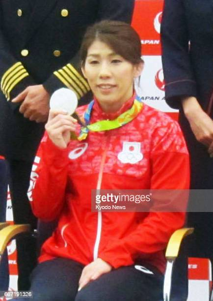 Threetime Olympic wrestling gold medalist Saori Yoshida attends an event in Tokyo on April 11 to introduce an athlete development project Yoshida...