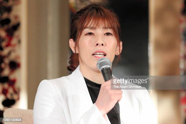 Three-time Olympic wrestling gold medalist Saori Yoshida attends her retirement press conference on January 10, 2019 in Tokyo, Japan.