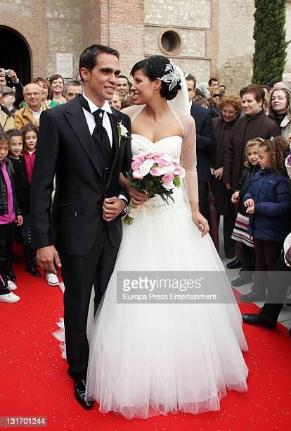 Threetime Tour de France champion Alberto Contador and Macarena Pescador get married at Santo Domingo de Silos church on November 5 2011 in Pinto...