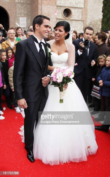 Threetime Tour de France champion Alberto Contador and Macarena Pescador get married at Santo Domingo de Silos church on November 5 2011 in Pinto...