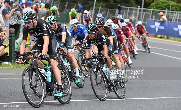 Threetime Tour de France winner Britain's Chris Froome of Team Sky takes part in Race Melbourne on the first day of the Cadel Evan Great Ocean Road...