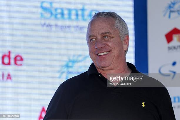 Three-time Tour de France winner Greg Lemond of the US smiles during presentations for stage two of the 2015 Tour Down Under cycling competition in...