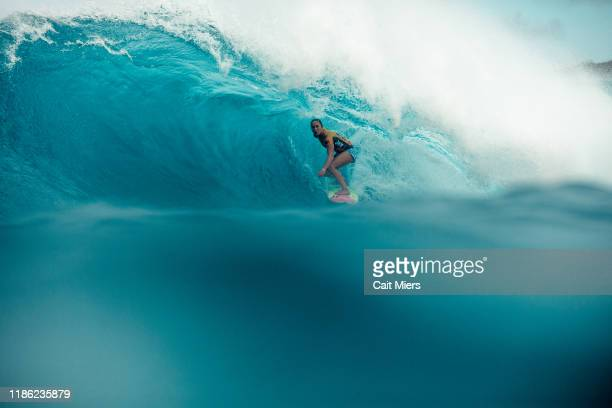 Threetime WSL Champion Carissa Moore of Hawaii wins her Fourth World Title at the 2019 Lululemon Maui Pro at Honolua Bay on December 2 2019 in Maui...