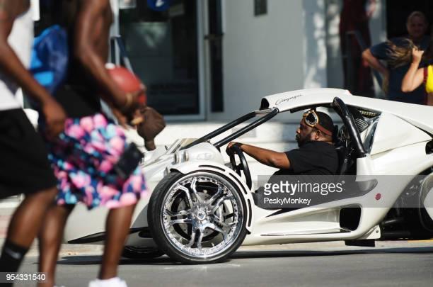 Three-Wheel Motorcycle Ocean Drive in South Beach Miami