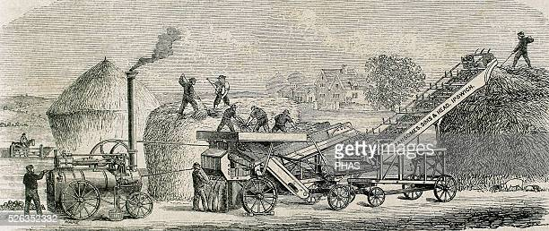 Threshing machine with steam Industrial Revolution Engraving 19th c