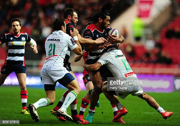 Thretton Palamo of Bristol Rugby is tackled by Julien Fumat of Pau during the European Rugby Challenge Cup match between Bristol Rugby and Pau at...
