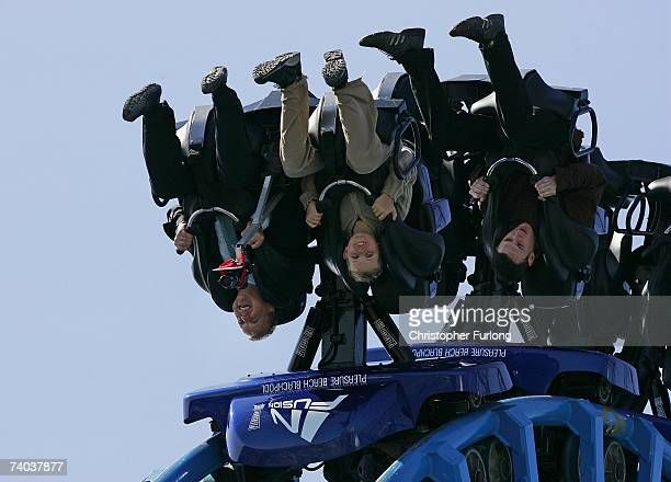Thrill seekers try out the new Infusion rollercoaster ride at Blackpool Pleasure Beach on May 1 Blackpool England The ride over water has five loops...