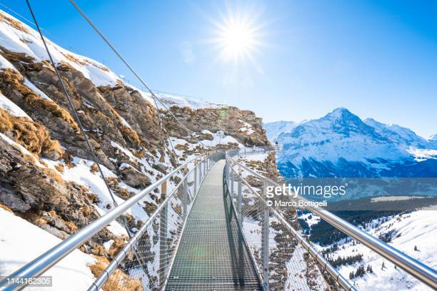 thrilling walkway in the swiss alps, grindelwald, switzerland - switzerland stock pictures, royalty-free photos & images