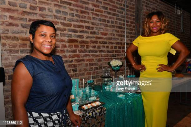 Thrisha Hampton of Elite Creations by Thrisha is seen with Susan Smallwood of Grandiosity Events at Jamie Foster Brown's Sister2Sister DC Launch and...