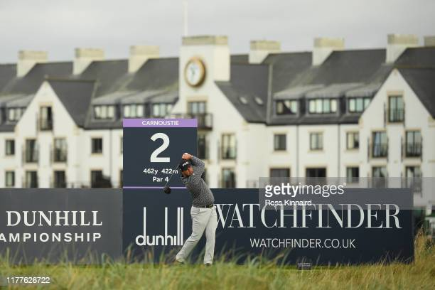 Thriston Lawrence of South Africa tees off on the 2nd hole during Day three of the Alfred Dunhill Links Championship at Carnoustie Golf Links on...