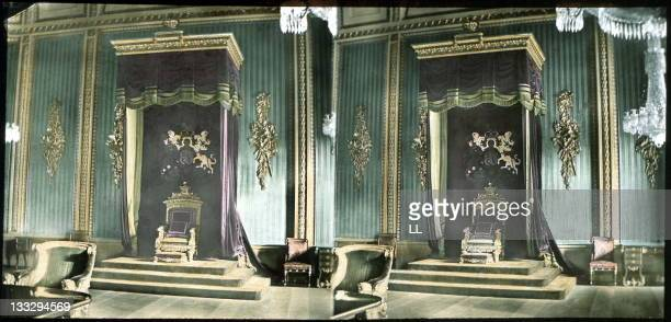 A throne in Buckingham Palace London 1860 Stereoscopic view