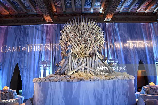 A throne is seen during the after party at the premiere for the sixth season of HBO's Game Of Thrones at TCL Chinese Theatre on April 10 2016 in...