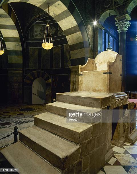 Throne of Charlemagne C800 Marble West side of the upper gallery Palatine Chapel Aachen Cathedral Germany