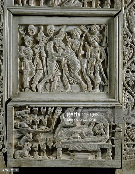 Throne of Maximian carved ivory panels with stories of Joseph Joseph embracing his father the dream of the pharaoh side view Ravenna Italy Byzantine...