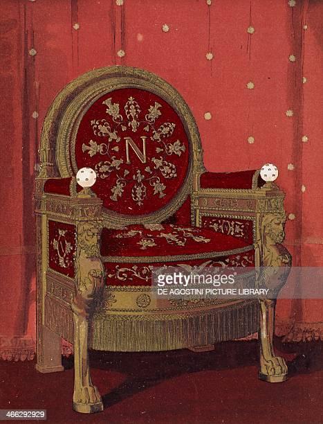 Throne of Napoleon I early 19th century illustration from the Dictionnaire de l'ameublement et de la decoration XIIIth depuis le siecle jusqu'a nos...