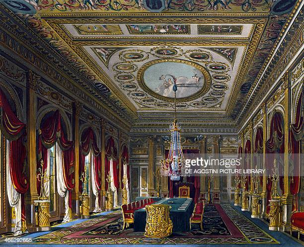 Throne Room engraving by Thomas Sutherland based on a design by Charles Wild from The History of the Royal Residences 18161819 Volume III Carlton...