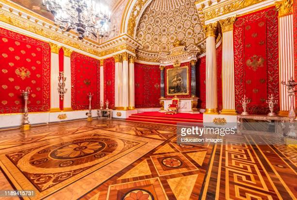 Throne room in The Hermitage Museum and Winter Palace, Saint Petersburg, Russia.